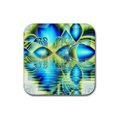 Crystal Lime Turquoise Heart Of Love, Abstract Drink Coaster (square)