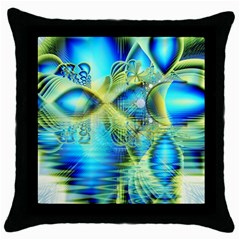 Crystal Lime Turquoise Heart Of Love, Abstract Black Throw Pillow Case