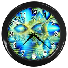 Crystal Lime Turquoise Heart Of Love, Abstract Wall Clock (Black)