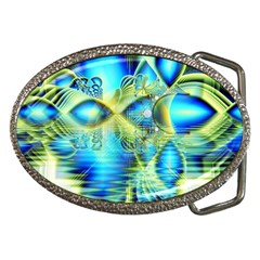Crystal Lime Turquoise Heart Of Love, Abstract Belt Buckle (Oval)