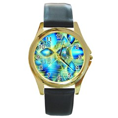 Crystal Lime Turquoise Heart Of Love, Abstract Round Leather Watch (gold Rim)