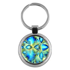Crystal Lime Turquoise Heart Of Love, Abstract Key Chain (Round)