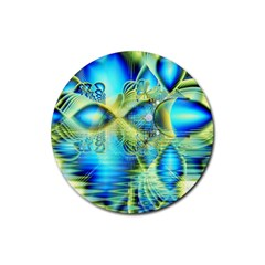 Crystal Lime Turquoise Heart Of Love, Abstract Drink Coaster (Round)