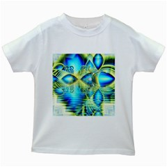 Crystal Lime Turquoise Heart Of Love, Abstract Kids T Shirt (white)