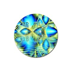 Crystal Lime Turquoise Heart Of Love, Abstract Magnet 3  (Round)