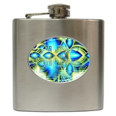 Crystal Lime Turquoise Heart Of Love, Abstract Hip Flask