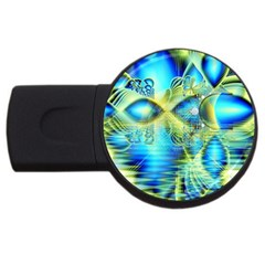 Crystal Lime Turquoise Heart Of Love, Abstract 1GB USB Flash Drive (Round)