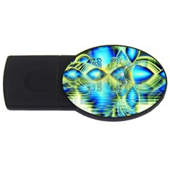 Crystal Lime Turquoise Heart Of Love, Abstract 1GB USB Flash Drive (Oval)
