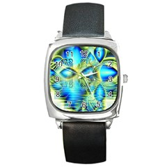 Crystal Lime Turquoise Heart Of Love, Abstract Square Leather Watch