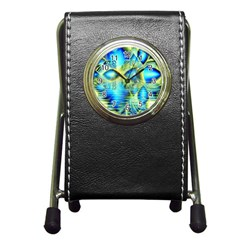 Crystal Lime Turquoise Heart Of Love, Abstract Stationery Holder Clock