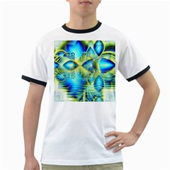Crystal Lime Turquoise Heart Of Love, Abstract Men s Ringer T Shirt