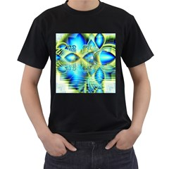 Crystal Lime Turquoise Heart Of Love, Abstract Men s Two Sided T-shirt (Black)