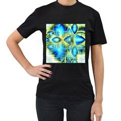 Crystal Lime Turquoise Heart Of Love, Abstract Women s Two Sided T-shirt (Black)