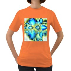 Crystal Lime Turquoise Heart Of Love, Abstract Women s T-shirt (Colored)