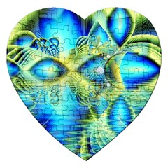 Crystal Lime Turquoise Heart Of Love, Abstract Jigsaw Puzzle (Heart)