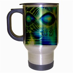 Crystal Lime Turquoise Heart Of Love, Abstract Travel Mug (silver Gray)