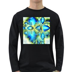 Crystal Lime Turquoise Heart Of Love, Abstract Men s Long Sleeve T Shirt (dark Colored)