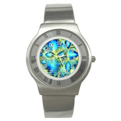 Crystal Lime Turquoise Heart Of Love, Abstract Stainless Steel Watch (Slim)