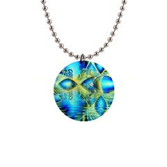 Crystal Lime Turquoise Heart Of Love, Abstract Button Necklace