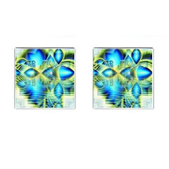 Crystal Lime Turquoise Heart Of Love, Abstract Cufflinks (Square)