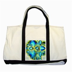 Crystal Lime Turquoise Heart Of Love, Abstract Two Toned Tote Bag