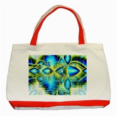 Crystal Lime Turquoise Heart Of Love, Abstract Classic Tote Bag (Red)
