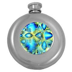 Crystal Lime Turquoise Heart Of Love, Abstract Hip Flask (round)
