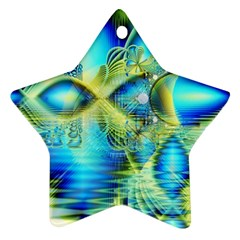 Crystal Lime Turquoise Heart Of Love, Abstract Star Ornament (Two Sides)