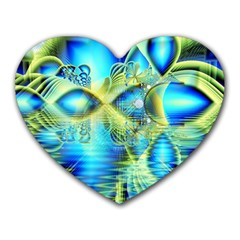 Crystal Lime Turquoise Heart Of Love, Abstract Mouse Pad (Heart)