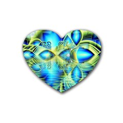 Crystal Lime Turquoise Heart Of Love, Abstract Drink Coasters (Heart)