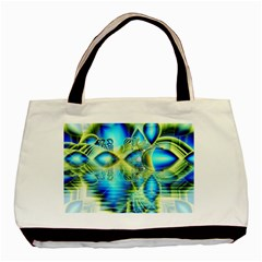 Crystal Lime Turquoise Heart Of Love, Abstract Twin Sided Black Tote Bag