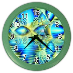 Crystal Lime Turquoise Heart Of Love, Abstract Wall Clock (Color)