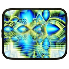 Crystal Lime Turquoise Heart Of Love, Abstract Netbook Sleeve (large)