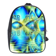Crystal Lime Turquoise Heart Of Love, Abstract School Bag (Large)