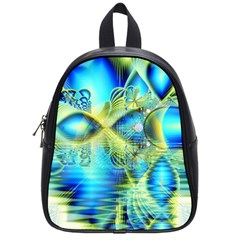 Crystal Lime Turquoise Heart Of Love, Abstract School Bag (Small)