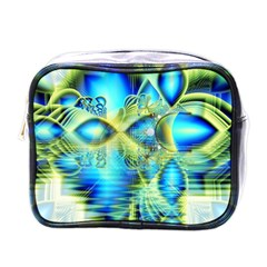 Crystal Lime Turquoise Heart Of Love, Abstract Mini Travel Toiletry Bag (one Side)