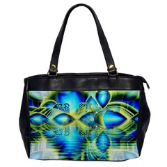 Crystal Lime Turquoise Heart Of Love, Abstract Oversize Office Handbag (one Side)