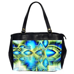 Crystal Lime Turquoise Heart Of Love, Abstract Oversize Office Handbag (Two Sides)