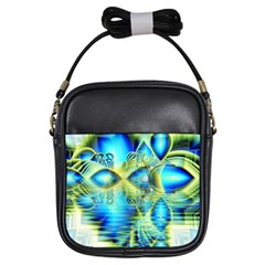 Crystal Lime Turquoise Heart Of Love, Abstract Girl s Sling Bag