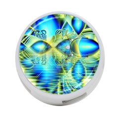 Crystal Lime Turquoise Heart Of Love, Abstract 4 Port Usb Hub (one Side)