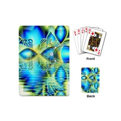Crystal Lime Turquoise Heart Of Love, Abstract Playing Cards (Mini)