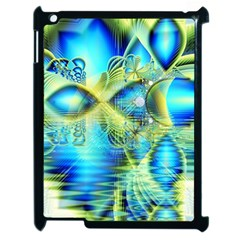Crystal Lime Turquoise Heart Of Love, Abstract Apple iPad 2 Case (Black)