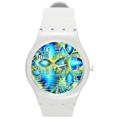 Crystal Lime Turquoise Heart Of Love, Abstract Plastic Sport Watch (Medium)