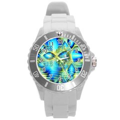 Crystal Lime Turquoise Heart Of Love, Abstract Plastic Sport Watch (Large)