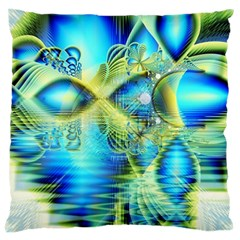 Crystal Lime Turquoise Heart Of Love, Abstract Large Cushion Case (Single Sided)