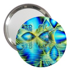 Crystal Lime Turquoise Heart Of Love, Abstract 3  Handbag Mirror