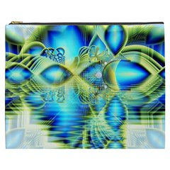 Crystal Lime Turquoise Heart Of Love, Abstract Cosmetic Bag (XXXL)