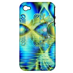 Crystal Lime Turquoise Heart Of Love, Abstract Apple Iphone 4/4s Hardshell Case (pc+silicone)