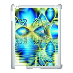 Crystal Lime Turquoise Heart Of Love, Abstract Apple iPad 3/4 Case (White)