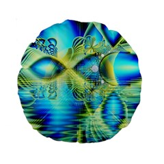 Crystal Lime Turquoise Heart Of Love, Abstract 15  Premium Round Cushion